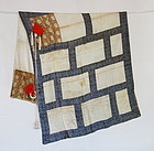 Japanese Antique Textile Silk Buddhist Clerical Garment Hichi-jo Kesa