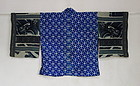 Japanese Vintage Textile Katazome Han-juban with Silk Crepe Sleeves