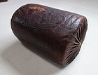 Japanese Antique Kin-kara-kawa Pillow Made of Cow Skin