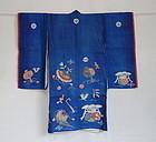 Japanese Antique Textile Asa Baby's Ceremonial Kimono