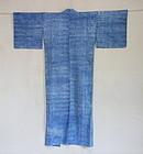 Japanese Vintage Textile Mokume Shibori Yukata Cotton Kimono