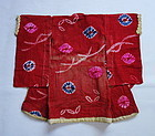 Japanese Vintage Textile Baby's Kimono Made of Cotton with Shibori