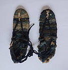 Japanese Vintage Folk Craft Waraji Straw Sandals with Sakiori
