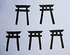 Japanese Antique Metal Miniature Torii Shrine Gate Made of Metal