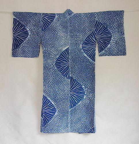 Japanese Vintage Textile Cotton Shibori Kimono Yukata