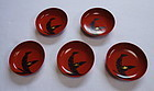 Japanese Vintage Urushi Small Plates with Banana Leaves and Snail