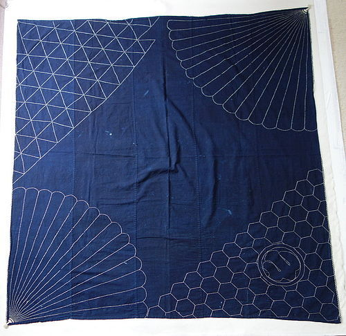 Japanese Vintage Textile Cotton Large Furoshiki with Sashiko