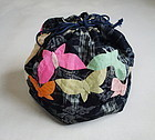 Japanese Vintage Textile Bag Made of Asa Omi Kasuri with Butterfly
