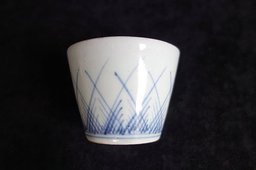 Japanese Antique Ceramic Soba-choko with Grass Pattern Mid Edo