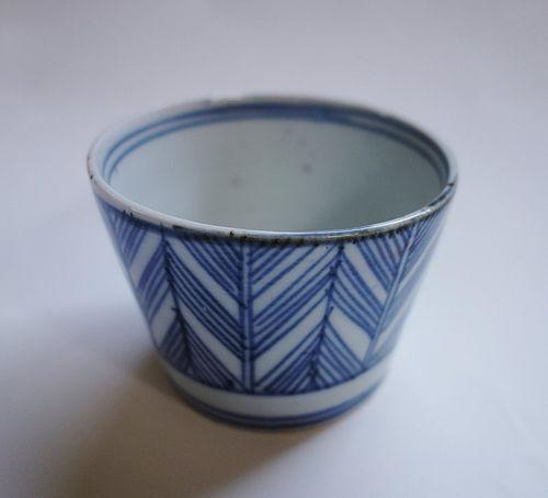 Japanese Antique Ceramic Koimarri Soba-choko with Plume Design