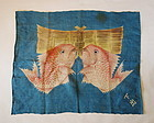 Japanese Antique Textile Asa Furoshiki with Red Sea Bream