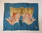 Japanese Antique Textile Asa Furoshiki with Red Sea Bream