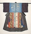 Japanese Antique Textile Patched Juban Kimono Edo