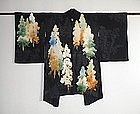 Japanese Vintage Textile Black Silk Haori Trees