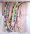 Japanese Vintage Textile Silk Crepe Furisode Kimono