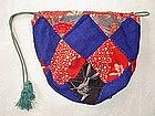 Japanese Antique Textile Silk Patched Komebukuro Square