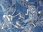 Japanese Antique Textile Katazome Cloth Turtle Crane-1
