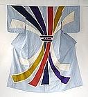 Japanese Vintage Textile Cotton Tsutsugaki Kimono Noshi