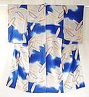 Japanese Vintage Textile Silk Crepe Summer Kimono