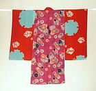 Japanese Vintage Textile Girl's Juban Shibori  Katazome