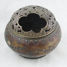 Japanese Bronze and Enamel Hand Warmer Box