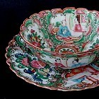 Chinese Rose Medallion Porcelain Bowl Cup Saucer