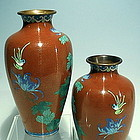 Pair of Chinese Deep Orange Cloisonne Vases with Bird