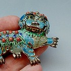 Silver, Enamel, and Coral Foo Dog Filigree Pin
