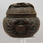 Chinese Coconut Round Box Carved Crab, Guangxu