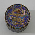 Small 19th C Chinese Cloisonne Opium Box 3 Dragons