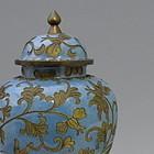 Chinese Cloisonne Covered Vase Robbins Egg Blue
