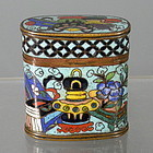 Small Chinese Turquoise Cloisonne Opium Box