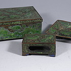 Chinese Bronze and Green Enamel Cigarette, Match Box Tray
