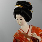 Japanese Geisha Bijin in Dance Pose Doll with Drum