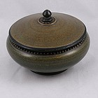 Lacquer over Wood Round Kashmir Box, Circa 1940