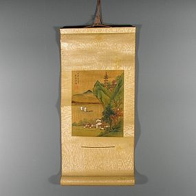 Miniature Chinese Export Silk Painting Scroll, signed