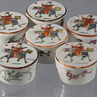 6 Scholar Porcelain Seal Paste Boxes with Kylin