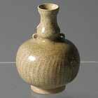 Small Chinese 14th C Celadon Vase with Comb Lines