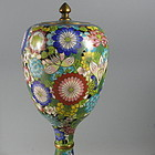 Chinese Millefleur Cloisonne Urn Jar with Lid, 1920's