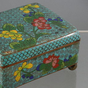 Antique Turquoise Chinese Cloisonne Box, Circa 1900