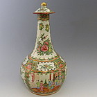 Tall Chinese Famille Rose Mandarin Vase with Lid