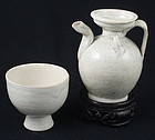 Northern Song Wine Ewer Pitcher with Stem Cup