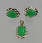 Apple Green Jade 14K Gold Earrings and Pendant