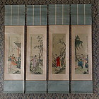 Ink on Silk Scrolls of  Chinese Beauties, Set of 4