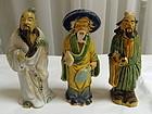3 Chinese Clay Mudmen Mud Men Scholar Statue