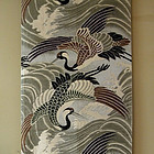 Japanese Silk Maru Obi with Cranes and Waves
