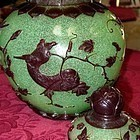 Large Chinese Green Snowflake Iron Red Peking Glass Jar