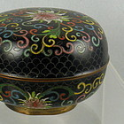 Round Chinese Cloisonne Covered Box Lotus Flowers