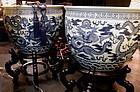 Biltmore Estate Chinese Blue White Ming Dragon Fish Bowl