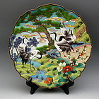 Japanese Cloisonne Charger with Cranes, Pine, Peony